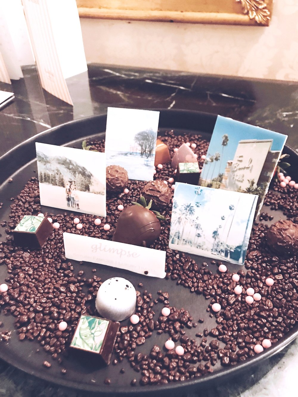 My welcome gift in our bungalow - images from my instagram page on chocolate!