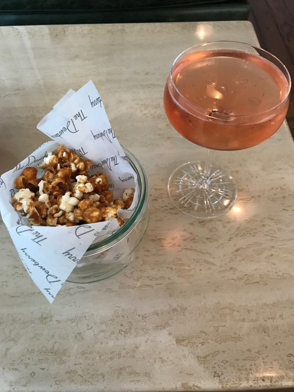 Cocktails and the famous popcorn.