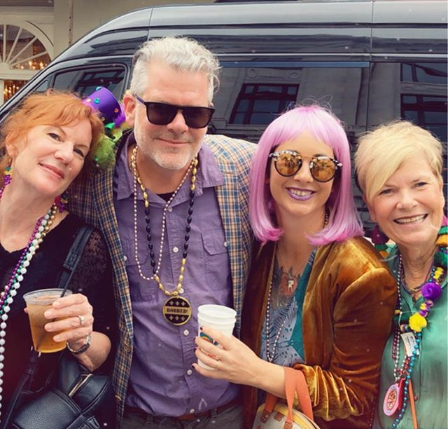When it's Mardi Gras Friday, you can find us on Royal st., wigs and beads abound!