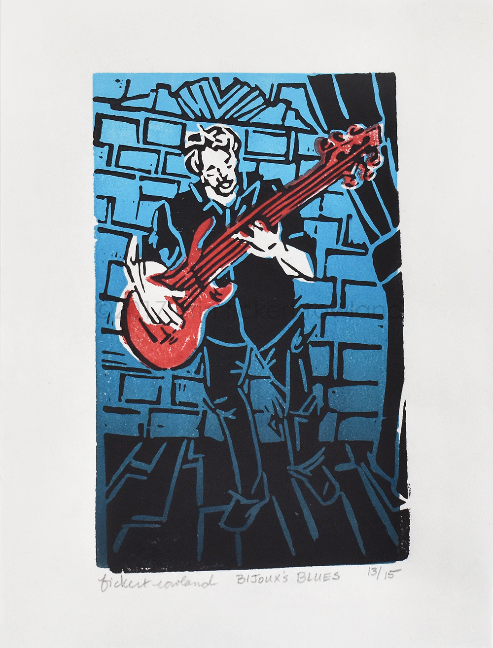 """""""Bijoux's Blues""""  Limited Edition of 15  3 in x 4 in  Matted to 5 in x 7 in"""