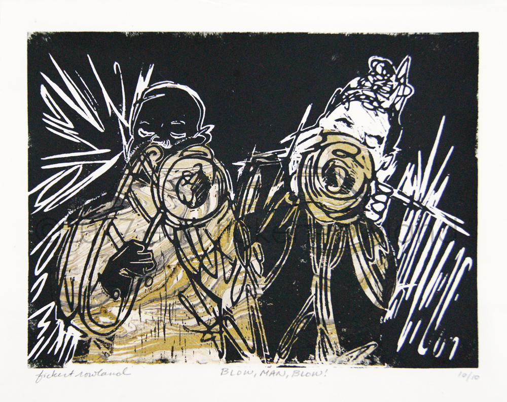 """""""Blow, Man, Blow!""""  Limited Edition of 10  7 in x 9 in  Matted to 11 in x 14 in"""