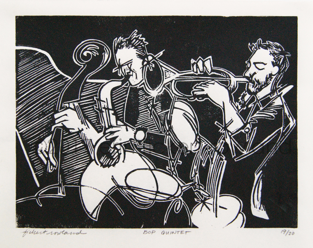 """""""Bop Quintet""""  Limited Edition of 20  7 in x 9 in  Matted to 11 in x 14 in"""