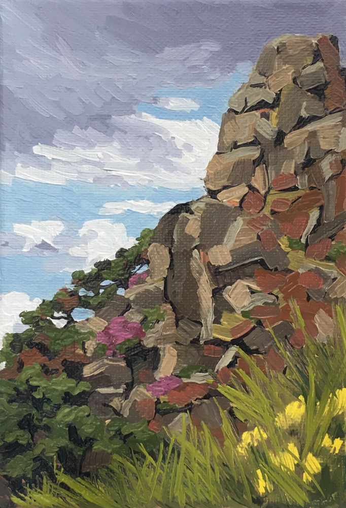 """Climbing King Arthur's Seat, Edinburgh"" 5 in x 7 in"