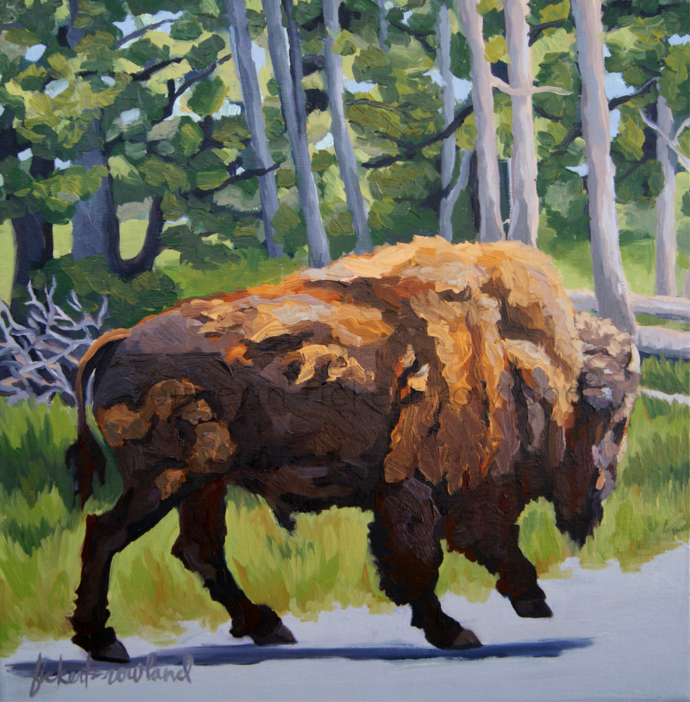 """Strutting Along, Yellowstone""  12 in x 12 in"
