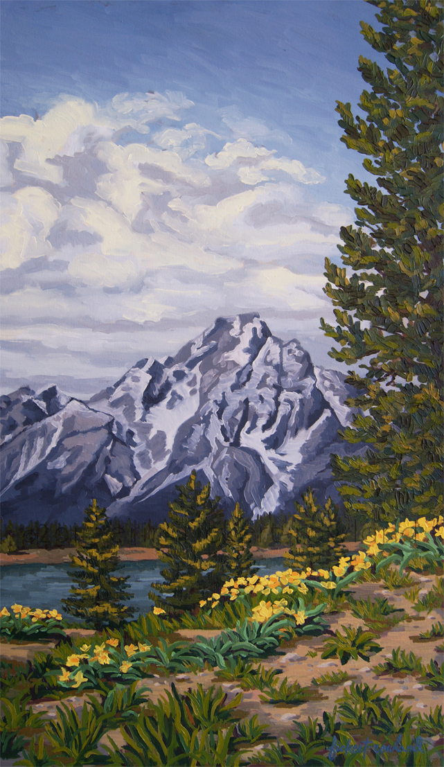 """Marina's Edge, Jenny Lake, Grand Tetons""  18 in x 32 in"