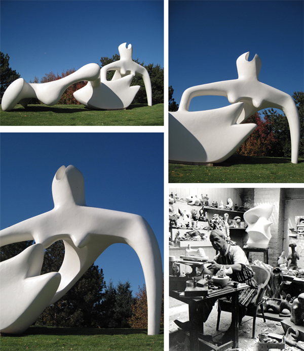 """""""Large Reclining Figure"""", bronze, by Henry Moore, 1984, at Denver Botanic Gardens, and photo of Moore in his studio"""