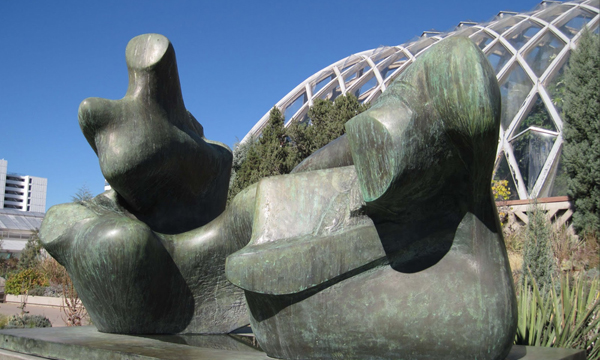 """""""Two Piece Reclining Figure: Points""""bronze, by Henry Moore, 1969, at Denver Botanic Gardens"""