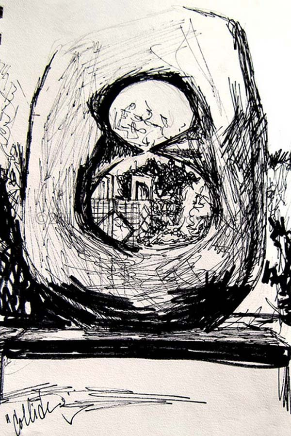 """""""Collide"""" sketch by Erin Fickert-Rowland after """"Oval with Points"""" by Henry Moore"""