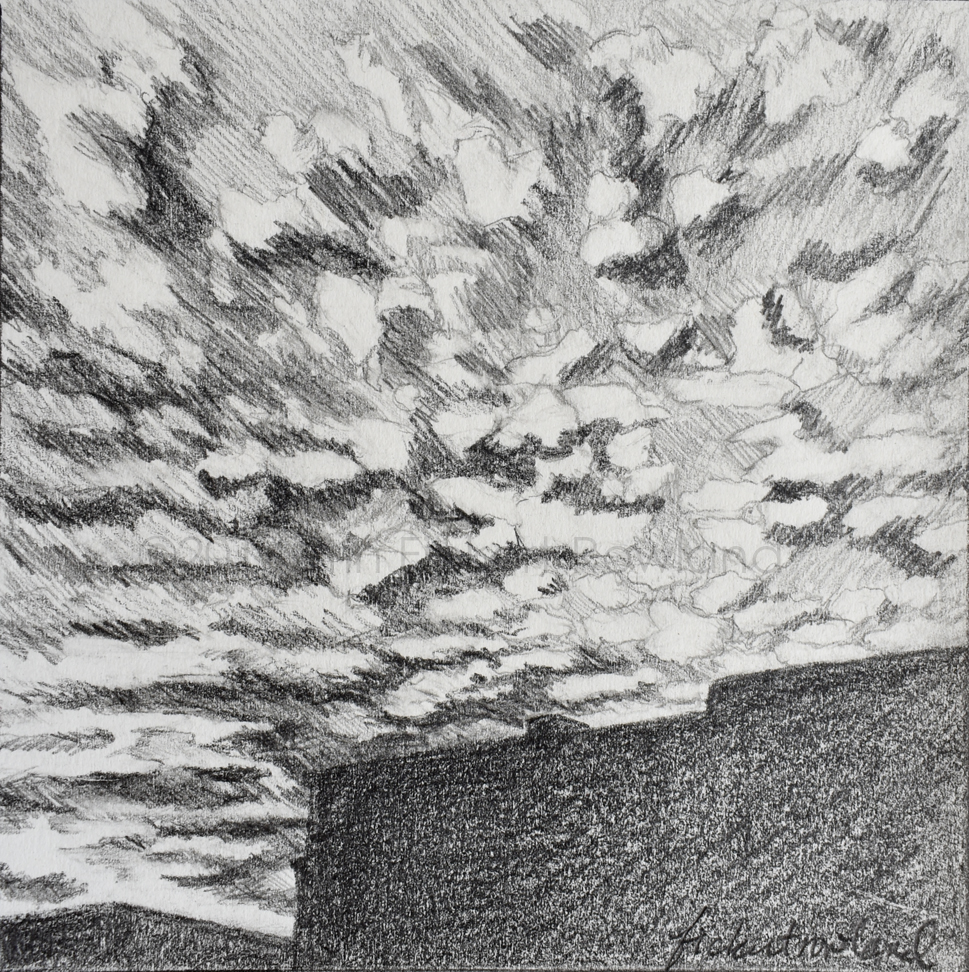 """Sunset Clouds Over Santa Fe""  5 in x 5 in  Matted to 8 in x 8 in"
