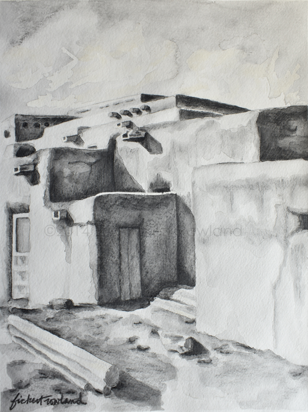 """Hlauuma, Taos Pueblo (North House)""  8 1/2 in x 11 1/2 in  Matted to 11 in x 14 in"