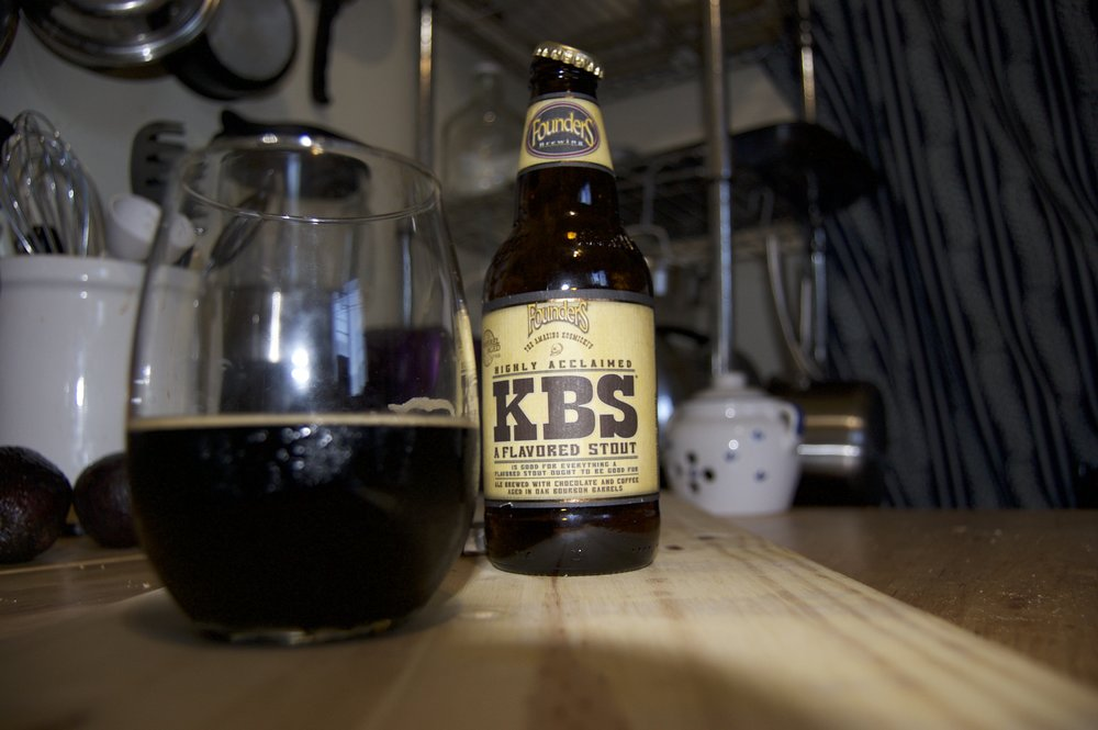 KBS Stout - This stout is epic. Rare and rich. It's thick, as a breakfast stout tends to be. It reminds me of dark storm clouds, ready to drop sweet sweet rain after weeks of horrible dry sunshine.  I want to sit on a wood porch, in a thunderstorm, sip on this while reading comic books. I decided to take it's temperature as I drank it. I noticed that when it became slightly warm it's flavors became more bold. At 56.8 it really shined. That's a good beer.