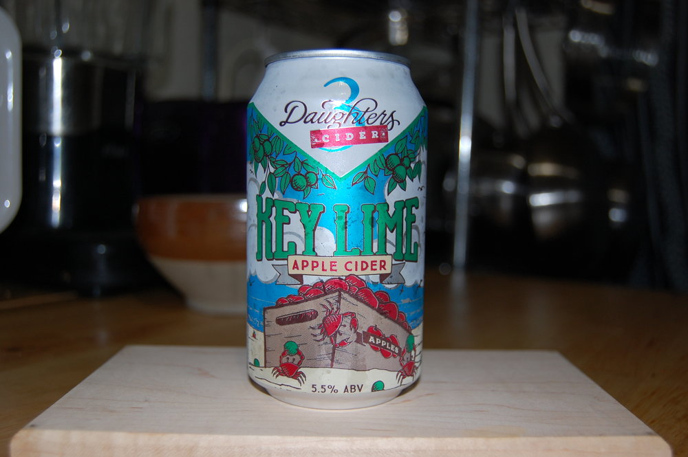 Key Lime Cider - From 3 Daughters Brewery in St Petersburg Florida. While not technically a beer, ciders are the sweet friendly cousin of beer and always welcome to the party. This tasty little beauty is certainly welcome in my fridge, and glass. Pairs extremely well with Florida's hot summer days.The key lime comes out after it's warmed up a little, just above fridge temperature. It's smoother than other ciders I've had. The can design is spot on too.  Everything brings you right into the most important part, the name and/or description. A perfect portrayal of this beach friendly cider.http://3dbrewing.com/