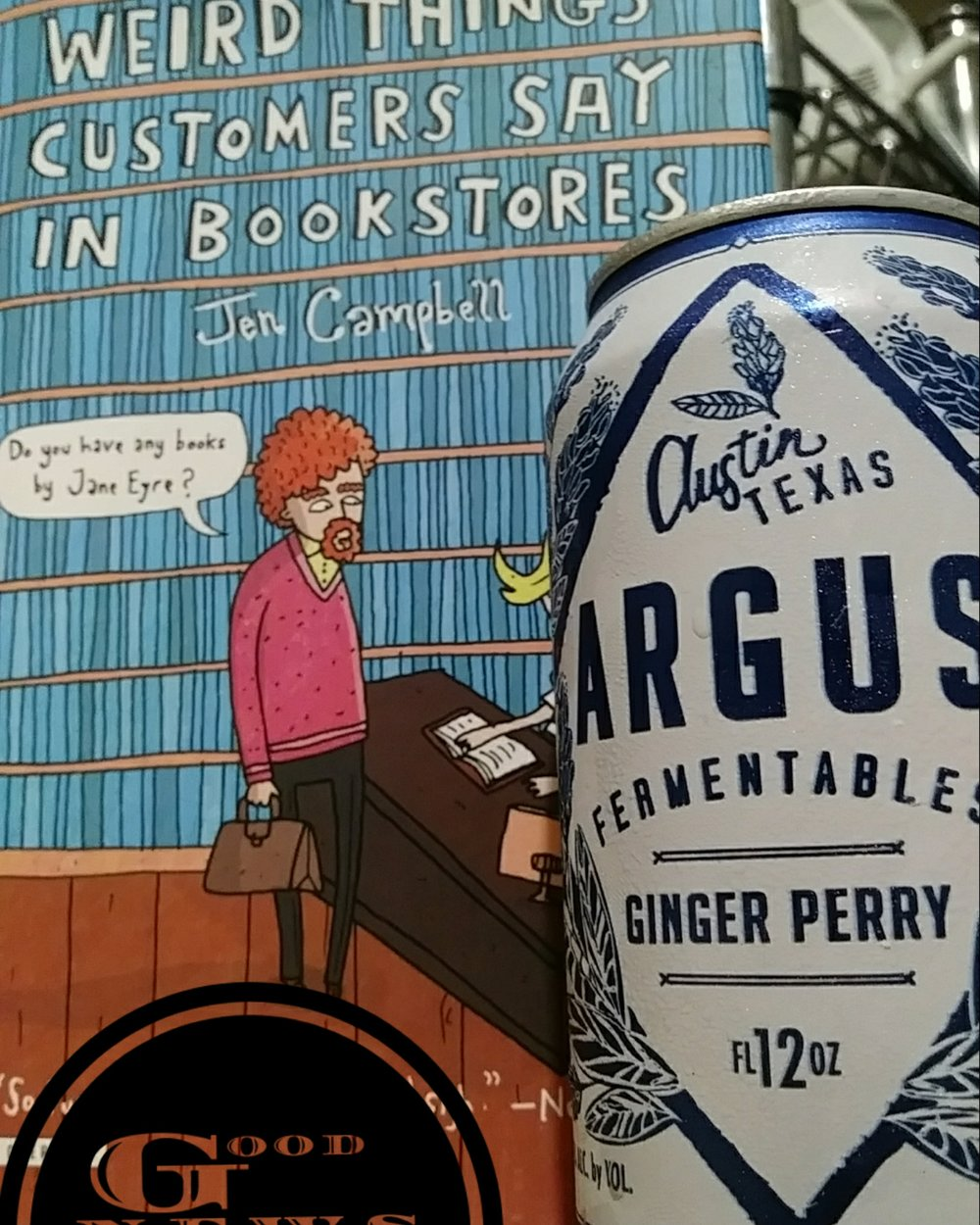 Fermentable Customers - I've worked in retail, and customer based jobs, most of my life, so this book resonated with me. It's a quick, funny read, and if you've worked with customers you'll get a kick out of this.This Ginger Perry beer was a great pairing with this book. Lively on the tongue, and kept me interested while relaxing me enough to find these customers antics more humorous than annoying.Always say thank you to retail workers, most likely they've put on a smile while being treated like dirt.