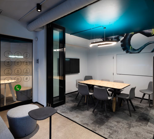 Urban Fitouts - Another quintessential Bold Collective design full of colour and life for this Surry Hills office refurbishment within one of Sydney's most dynamic creative scenes. The project included workstations, meeting rooms, kitchen and breakout area. A creative use of graphics and greenery helps to define the spaces and generates a balance of calm and energy for an inspired workplace.