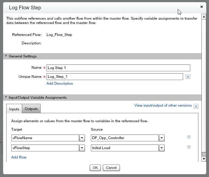 Quickly capture the name of the flow and the step. Debug messages and other fields can added as needed.