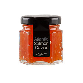 Atlantic Salmon Caviar  40g, 100g, 175g, 1kg A sumptuous complement to any canapé Shelf life: 30 days