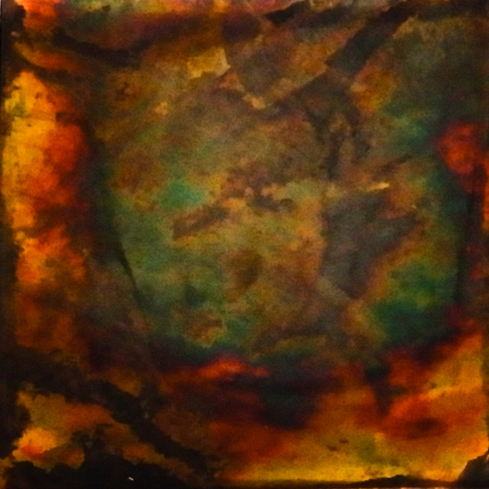 Annealed and sanded by sandpaper and polished by buffing machine. Wrapped in paper towel saturated by diluted liver of sulfur for twenty minutes. Size: 2 x 2 in