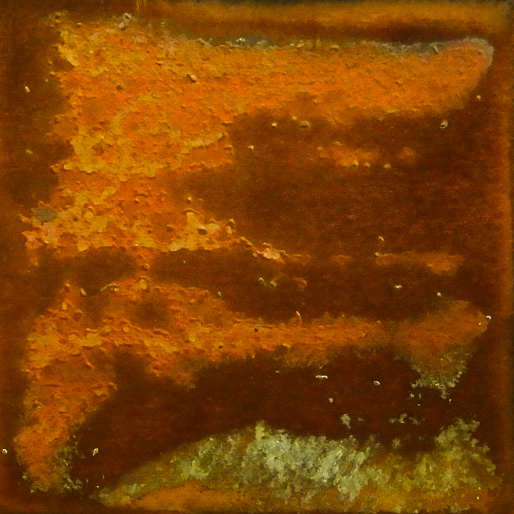 Annealed and sanded by sandpaper. Covered in ketchup for seventeen days. Size: 2 x 2 in