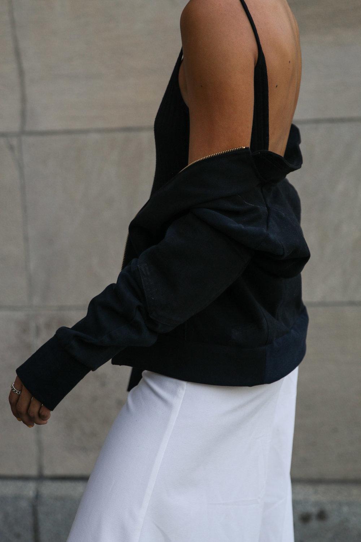 AndAgain Black Denim Bomber Jacket