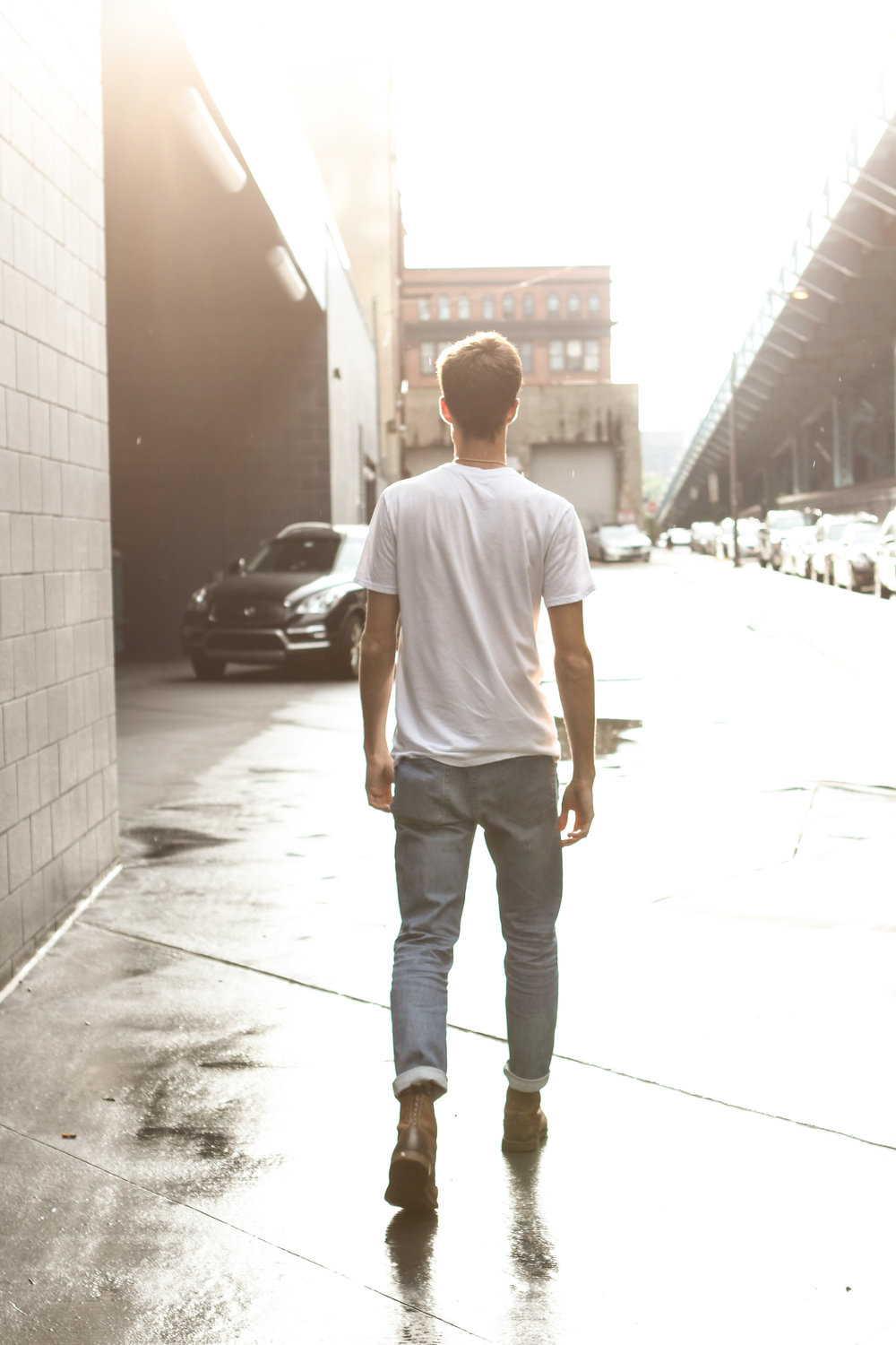 Everlane White Tee and Slim Jeans