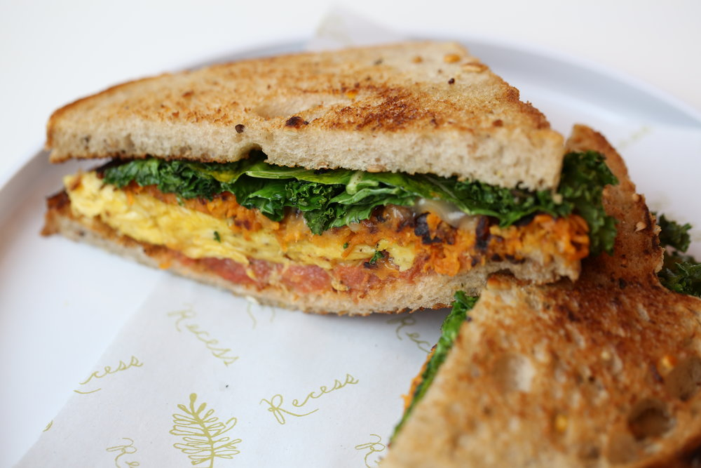 Hottest Brunches in Atlanta Right Now   Try the breakfast sandwich with scrambled egg, kale, sweet potato hash, and pesto on a multigrain bun. Pair it with cucumber-coconut water or an almond date shake made with cold brew coffee. Opens at 11 a.m.