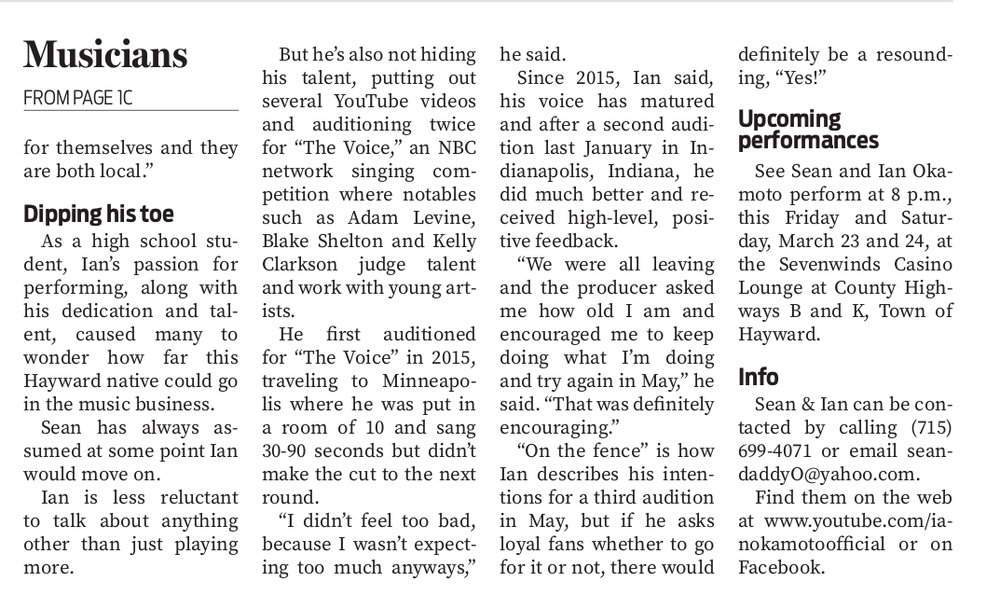 Feature article on Sean and Ian Okamoto in the Sawyer County Record.