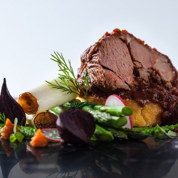 Peter Ansell's slow cooked lamb in a luxury red wine and tomato reduction