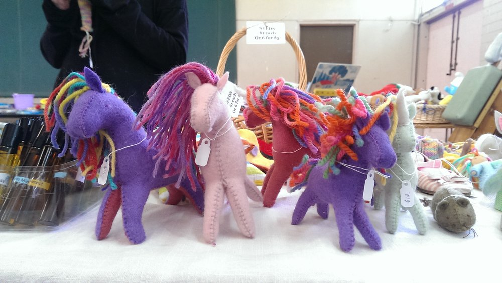 Felt horses and unicorns