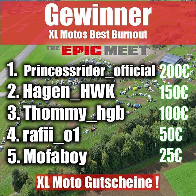 Kommen wir zu den Gewinnern der Contests ! #XlmotosBestBurnout 1.@princessrider_official 2.@hagen_hwk 3.@thommy_hbg 4.@rafii_o1 5. Mofaboy (Melde dich bei uns ! 😂) Bitte schickt uns eure Mail Adresse ! Die Gutschein Codes werden dann verschickt 🔥. ----- #BrokenHeadsBestShow 1.@stunt_dennis 2.@hamburgwheeliekidz 3.@stukowski.waterkantfreestyle 4.@stuntteamhamburg 5.@michi_stuntrider Von euch brauchen wir Name und Adresse damit ihr euren Helm zugeschickt bekommt !🚀 Danke an Alle die teilgenommen haben ! Nächstes Jahr wird es mehr Contest geben und die Organisation wird besser ! Gebt den Sponsoren etwas zurück indem ihr sie ordentlich verlinkt und die Hashtags benutzt ! #XlmotosBestBurnout #Xlmoto #BrokenHeadsBestShow #BrokenHead #Rebellmaker #Theepicmeet #TEM2018 #Community #Bikelife #Crew