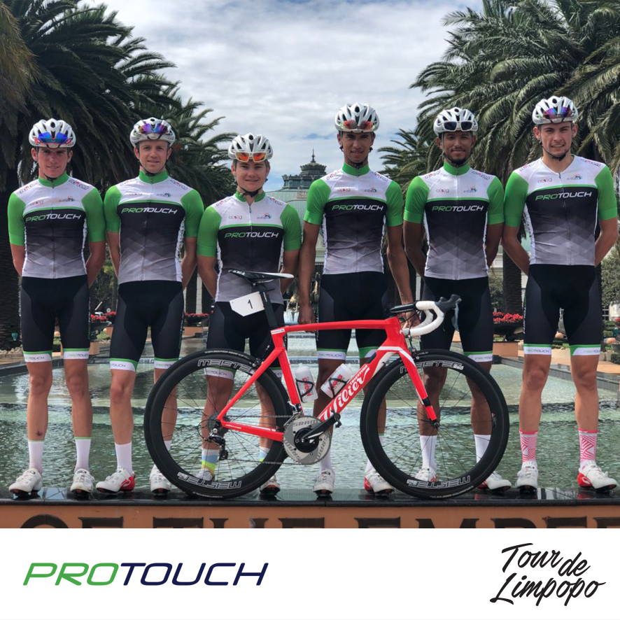 ProTouch Pro Cycling from South Africa will be competing in the inaugural Tour de Limpopo, which starts at the Peter Mokaba Stadium in Polokwane from 23-26 April 2018. The team from left Mitchell Eliot, James Fourie, Myles van Musschenbroek, Jayde Julius, Reynard Butler, Gustav Basson.