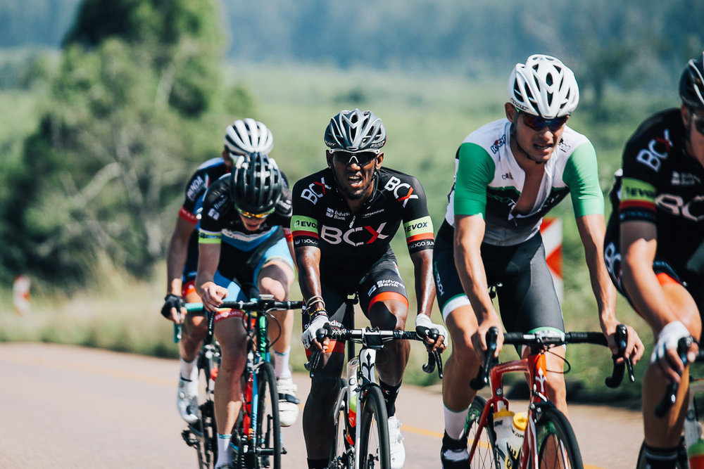 Eventual race winner Gustav Basson (ProTouch Sports) followed by Yellow Jersey winner Clint Hendricks (Team BCX) after they made up significant time on the Magoebaskloof descent to join the lead riders on Stage 1 of the Tour de Limpopo from Polokwane to Tzaneen on Monday 23 April 2018 © HaydsBrown