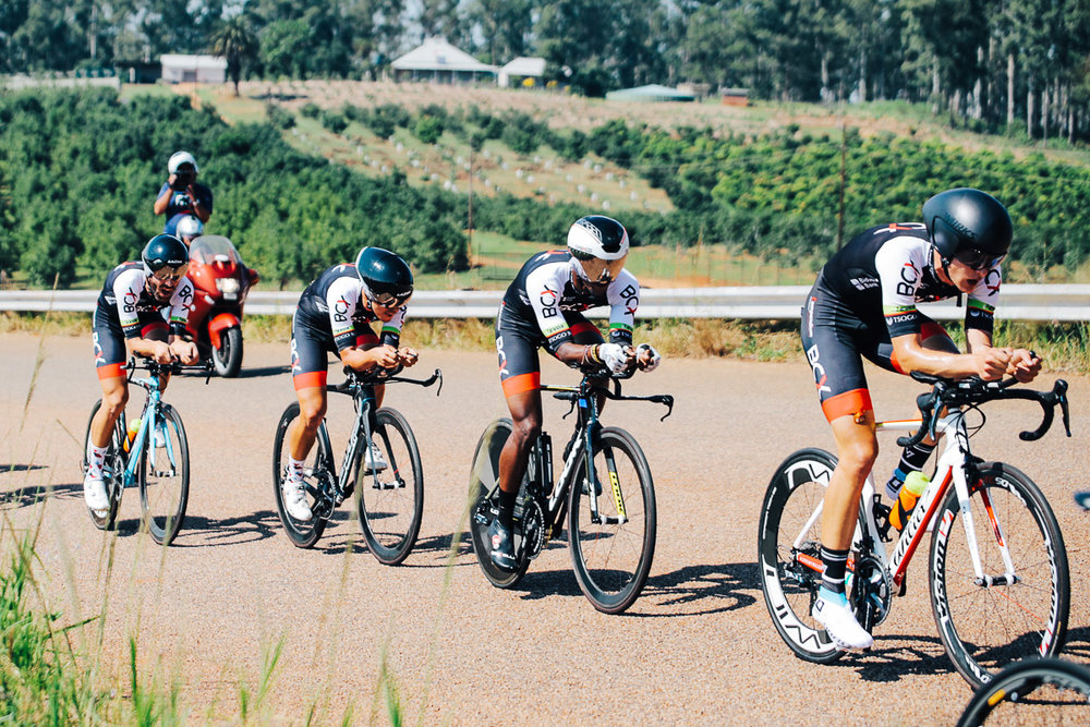 Team BCX in full pursuit before the untimely crash which saw Brandon Downs hit the deck in a spectacular crash when wheels touched, denying him the finish and pushing the team to second place on the day in the Team Time Trial on Stage 3 of the Tour de Limpopo in Tzaneen on Wednesday 25 April 2018 © HaydsBrown