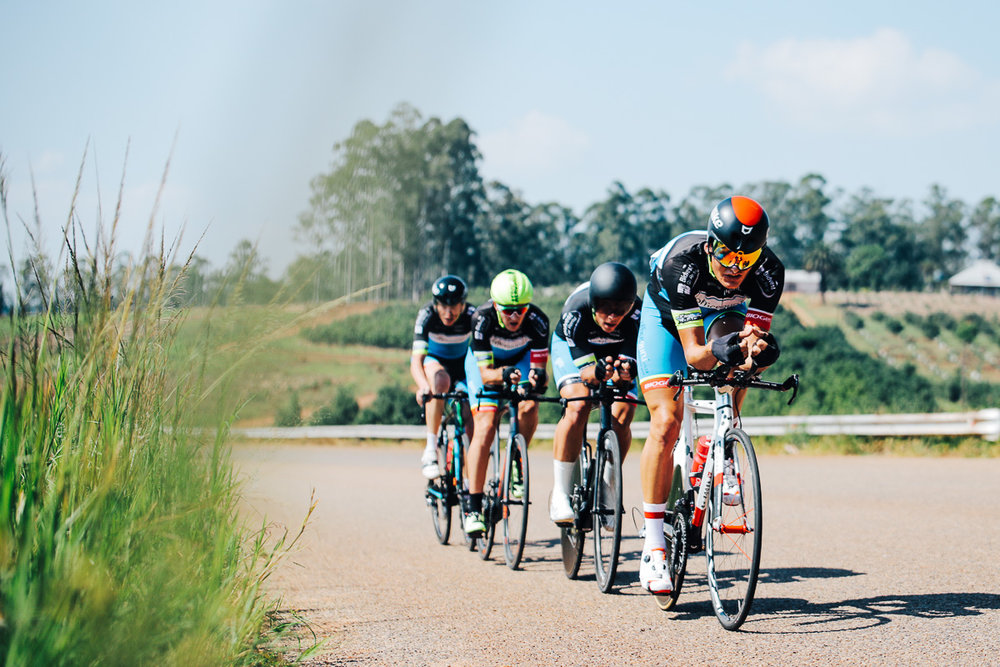 Officeguru Racings's Ryan Harris, Dirk Coetzee, Alexander Worsdale and Dylan Girdlestone in the Team Time Trial on Stage 3 of the Tour de Limpopo in Tzaneen on Wednesday 25 April 2018 © HaydsBrown
