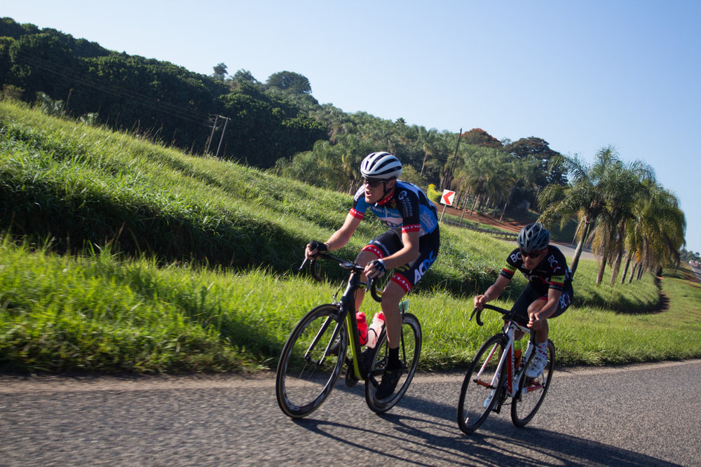 Jaco van Dyk (ACDC Luso) and David Maree (Team BCX) in pursuit of the leaders on Stage 4 of the Tour de Limpopo from Tzaneen to Polokwane on Thursday 26 April 2018 © Jeanette Kwetepane