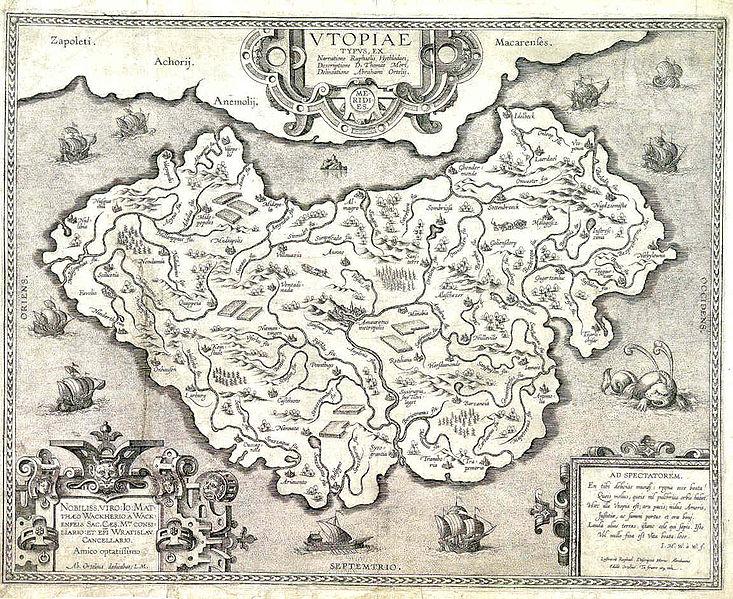 """خريطة اليوتوبيا ل""""أبراهام أورتيليوس""""- الصورة مأخوذة من موقع ويكيميديا كومونس"""