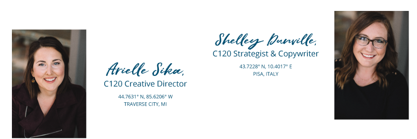 Arielle Sika and Shelley Dunville of Current 120. Current 120 designs websites for small businesses in Traverse City, Michigan.