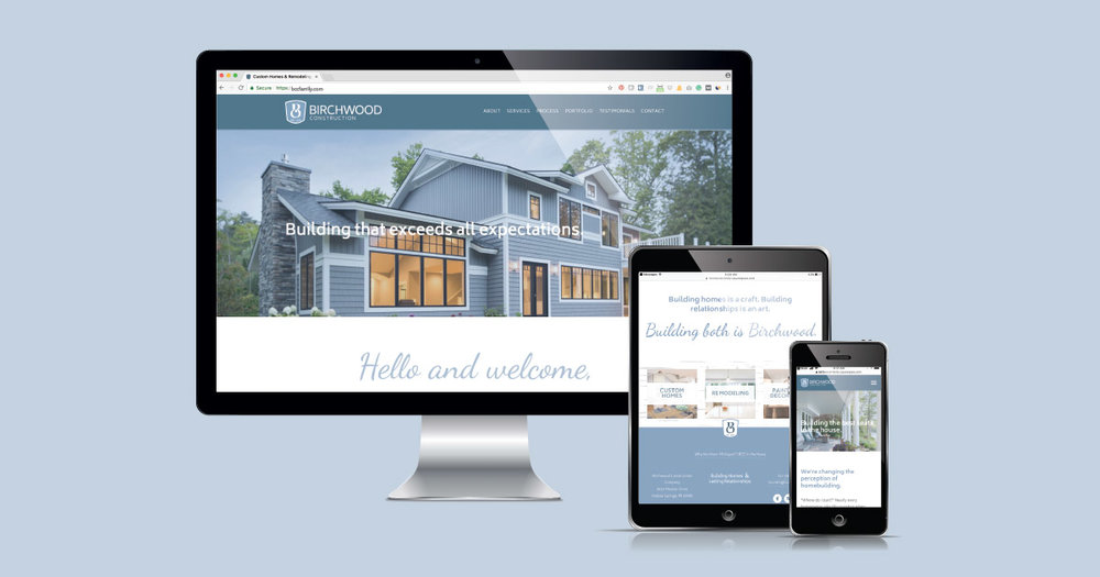Birchwood Construction Company's Squarespace website designed by Current 120.