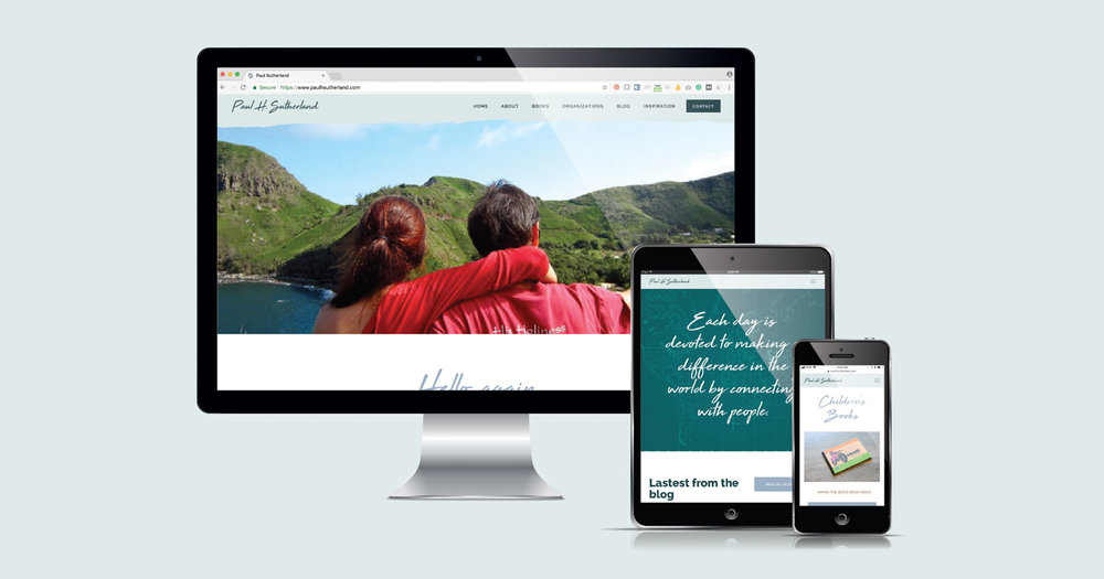 Paul H. Sutherland's Squarespace website design and development by Current 120.