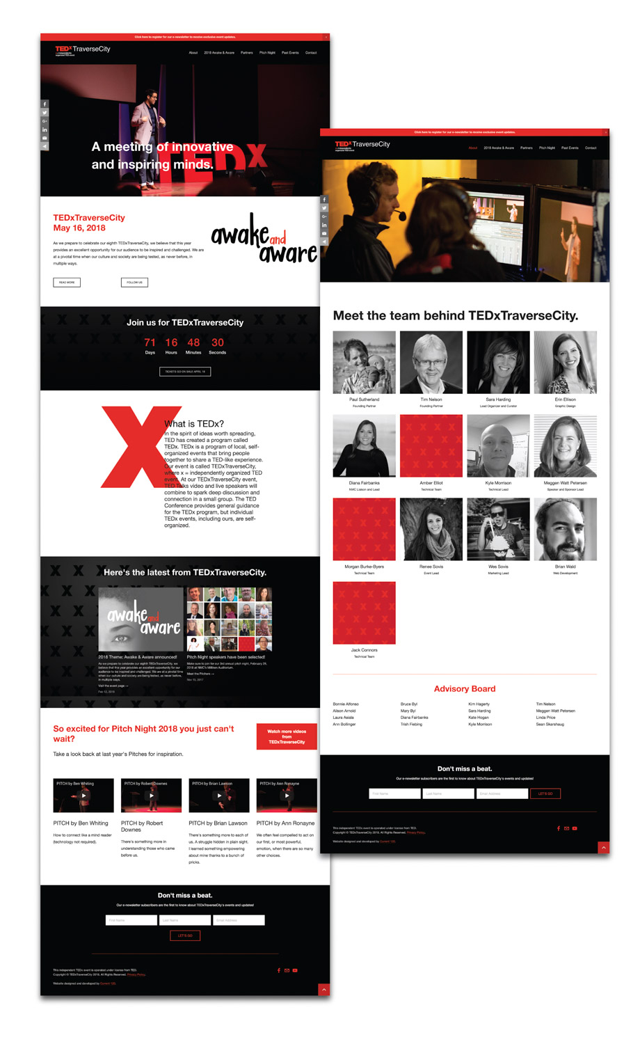 TEDxTraverseCity's Squarespace website design and development by Current 120.