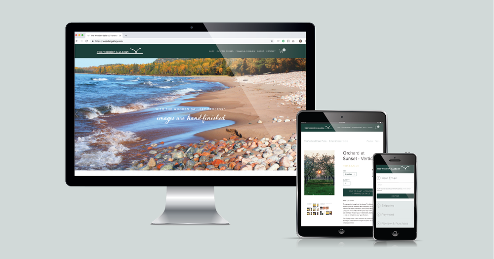 Current 120's website design and website development for Traverse City's The Wooden Gallery.