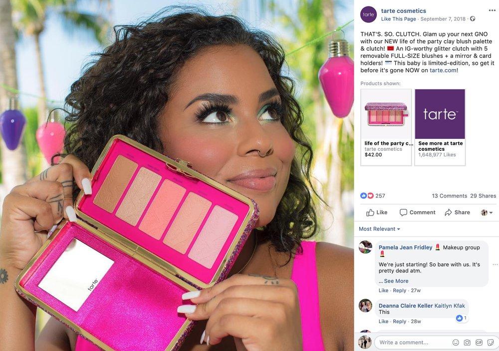 Example from Tarte Cosmetics