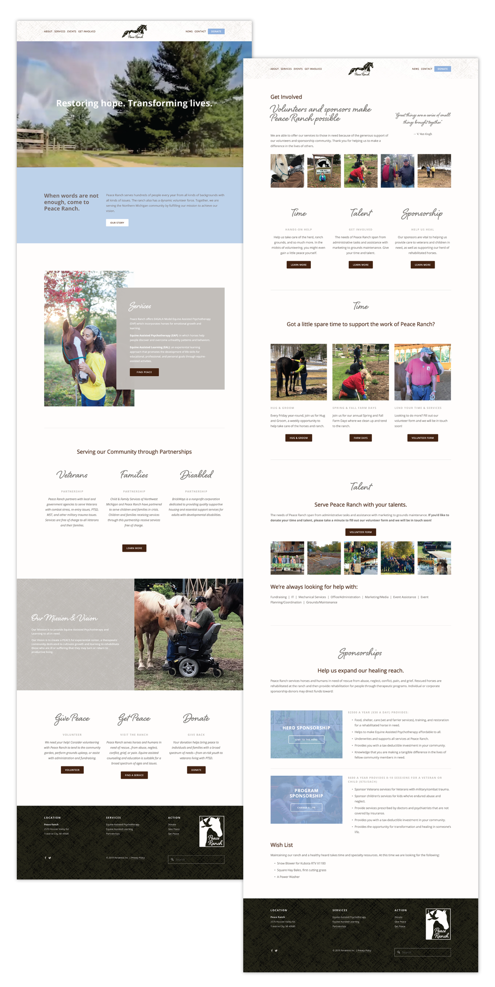 Current 120 web design and website development for Traverse City, MI nonprofit, Peace Ranch.