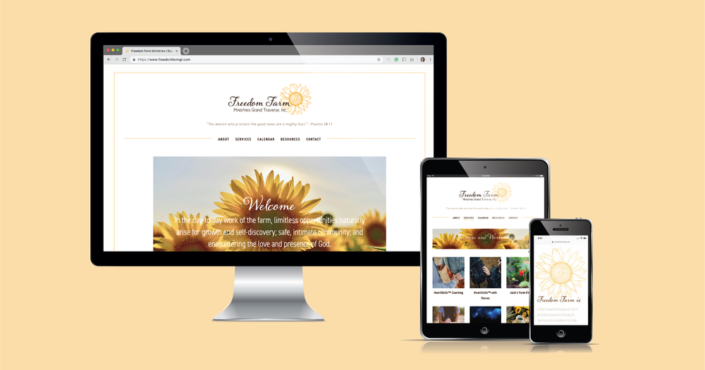 Current 120 web design and branding donated to local nonprofit, Freedom Farm Ministries Grand Traverse.