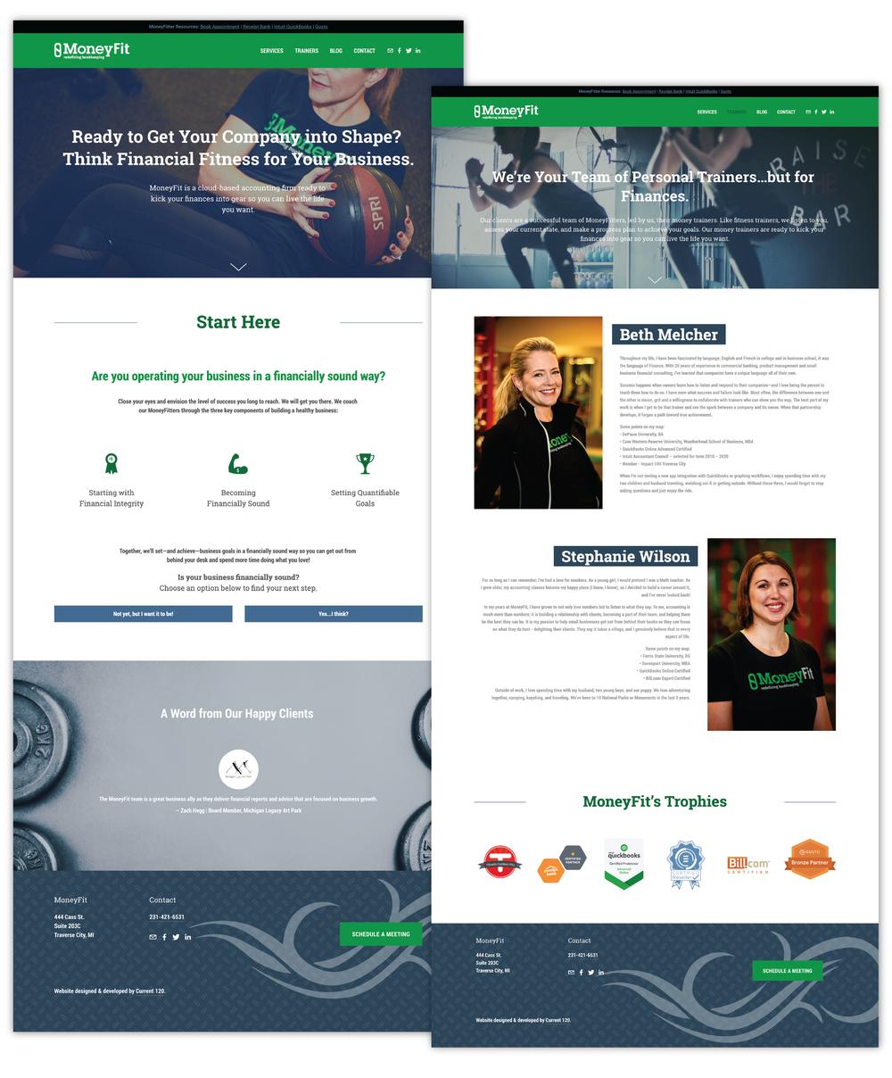 Current 120's website design and website development for Traverse City's MoneyFit.