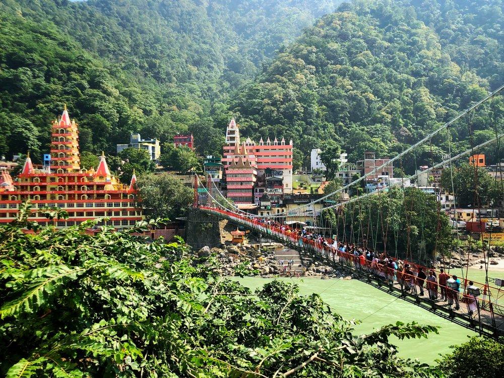 The famous Laxman Jhula Bridge, Rishikesh