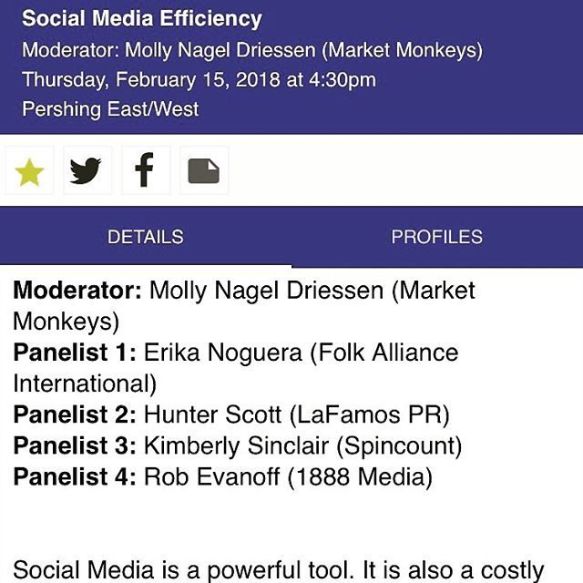 Join SpinCount founder @kimberlysinc Thur, Feb 15 at 2:30pm for 'Social Media Efficiency: Re-organizing Organization' Panel #FAI30 w/ Molly Nagel Driessen, Rob Evanoff, Hunter Scott, & Erika Noguera @folkalliance Offering insider tips on how to make social media work for you!