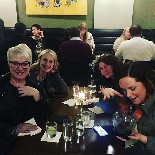 Making the magic happen! @compassrecords #celebrationtime #dinnerout #FAI30 @folk_alliance with @ladycdunk @erincostelo #recordlabel