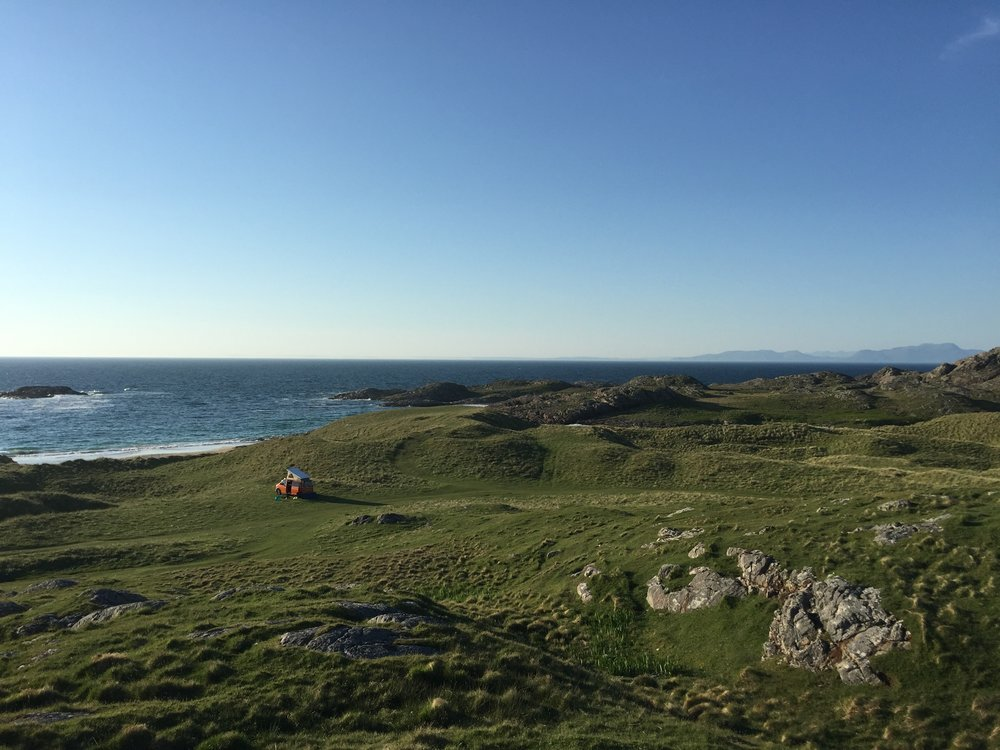 Wild camping with our new VW campervan on Coll