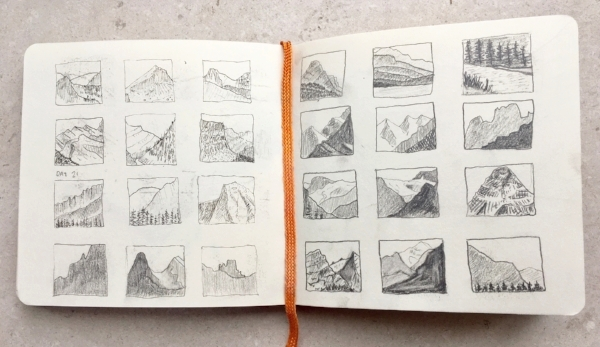 A series of (wobbly) thumbnail sketches I made while we drove along the iconic Icefields Parkway