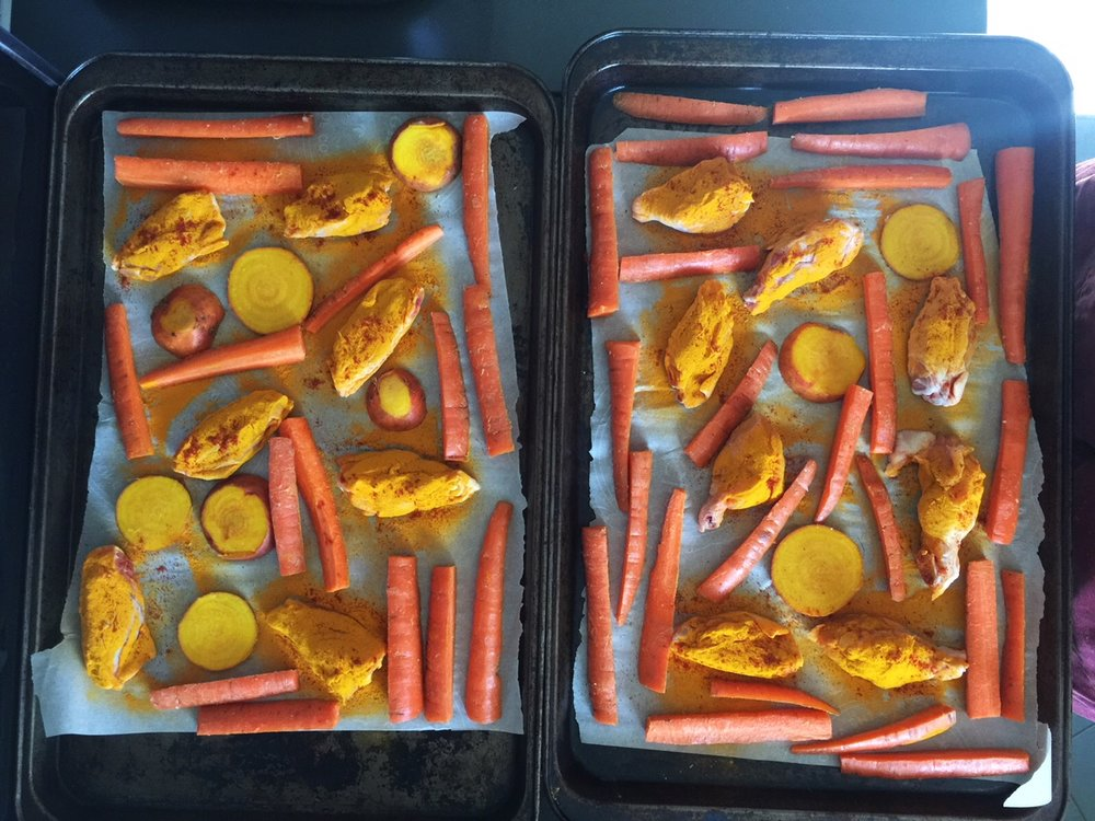 Ready to go in the oven; leaving enough space between things on the tray will enable them to roast (too close and they will steam)